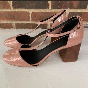 ASOS block chunky heel t strap pump